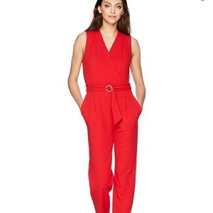 NWT Tahari Bold Red Jumpsuit Sz 12